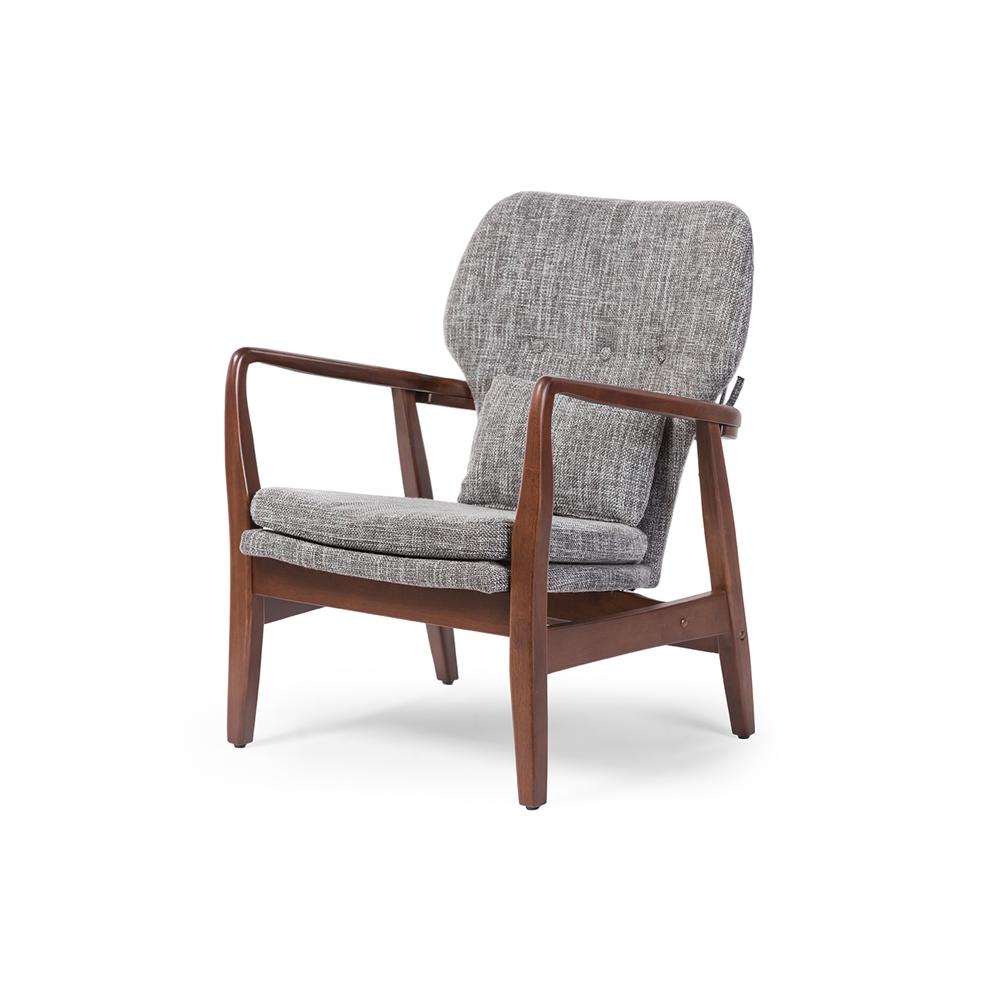Baxton studio rundell mid century modern retro grey fabric upholstered leisure accent chair in walnut wood frame affordable modern design baxton studio