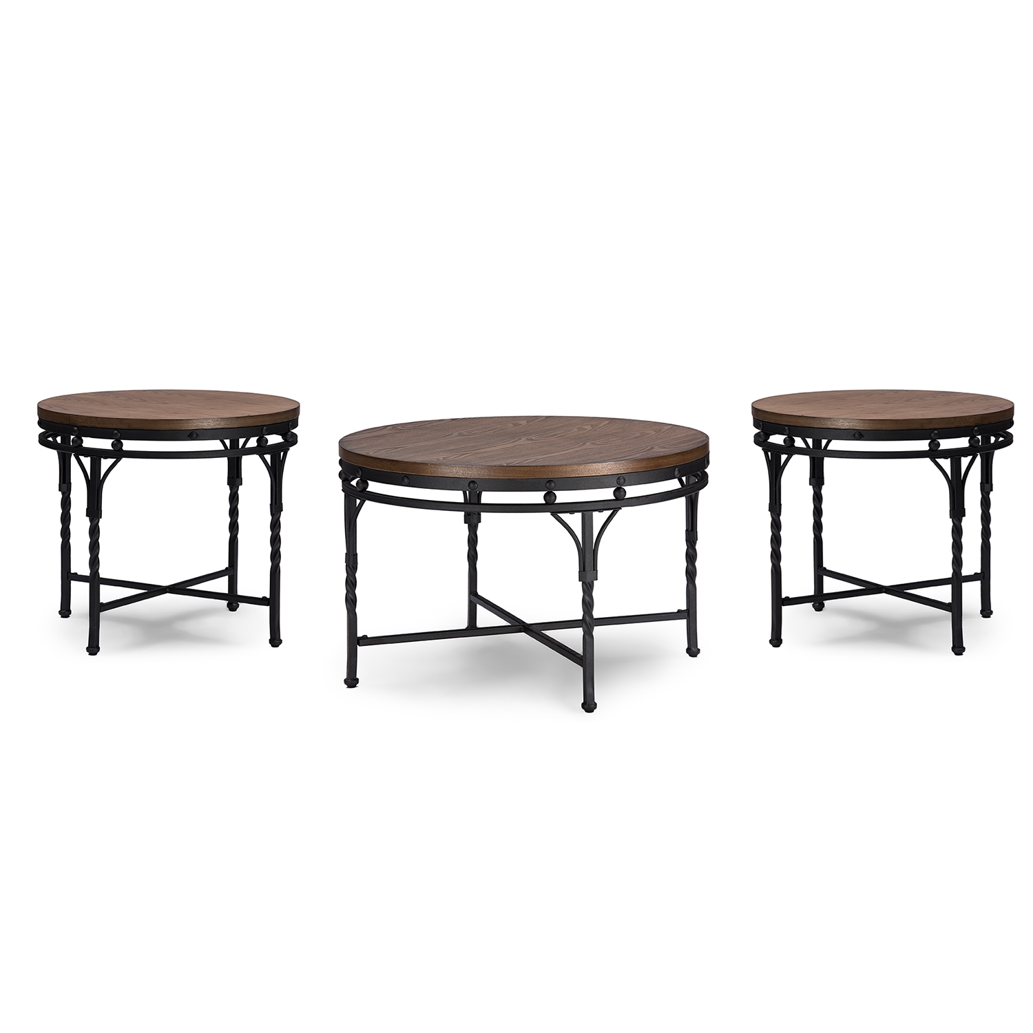 Lovely Baxton Studio Austin Vintage Industrial Antique Bronze Round Coffee  Cocktail Table And End Tables 3