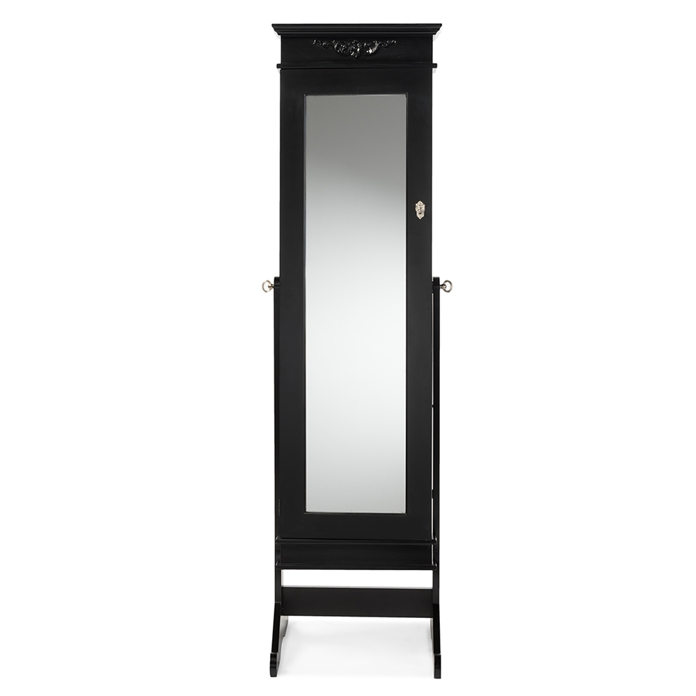 Baxton Studio Bimini Black Finish Wood Crown Moulding Top Free Standing Full Length Cheval Mirror Jewelry Armoire