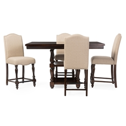 Baxton Studio Zachary Chic French Vintage Oak Brown 5-Piece Square Counter Pub Set Baxton Studio restaurant furniture, hotel furniture, commercial furniture, wholesale bar furniture, wholesale bar sets,  classic bar sets