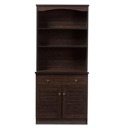 Baxton Studio Agni Modern And Contemporary Dark Brown Buffet Hutch Kitchen Cabinet Restaurant