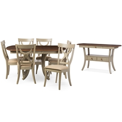 Baxton Studio Balmoral Chic Country Cottage Antique Oak Wood and Distressed Light Grey 8-Piece Dining Set with 40-inch Extendable Dining Table Baxton Studio restaurant furniture, hotel furniture, commercial furniture, wholesale dining room furniture, wholesale dining sets, classic dining sets