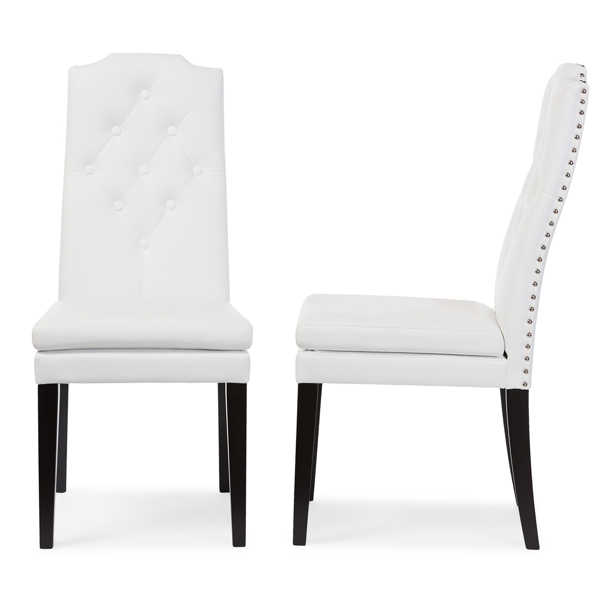 Beau Baxton Studio Dylin Modern And Contemporary White Faux Leather  Button Tufted Nail Heads Trim Dining Chair
