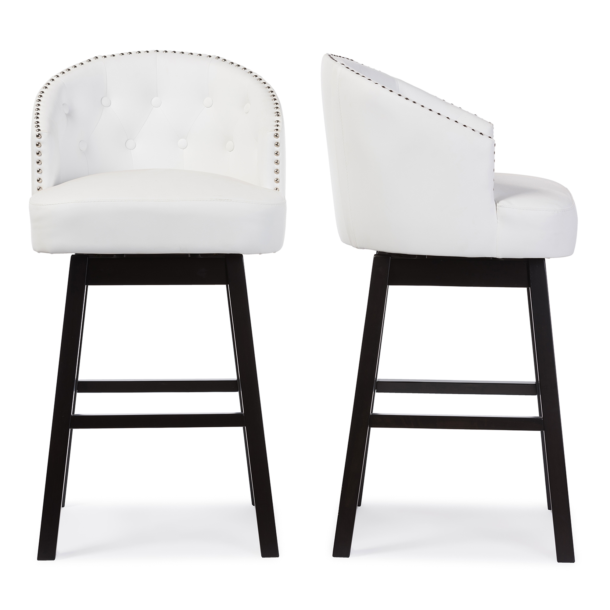Charming Baxton Studio Avril Modern And Contemporary White Faux Leather Tufted Swivel  Barstool With Nail Heads Trim