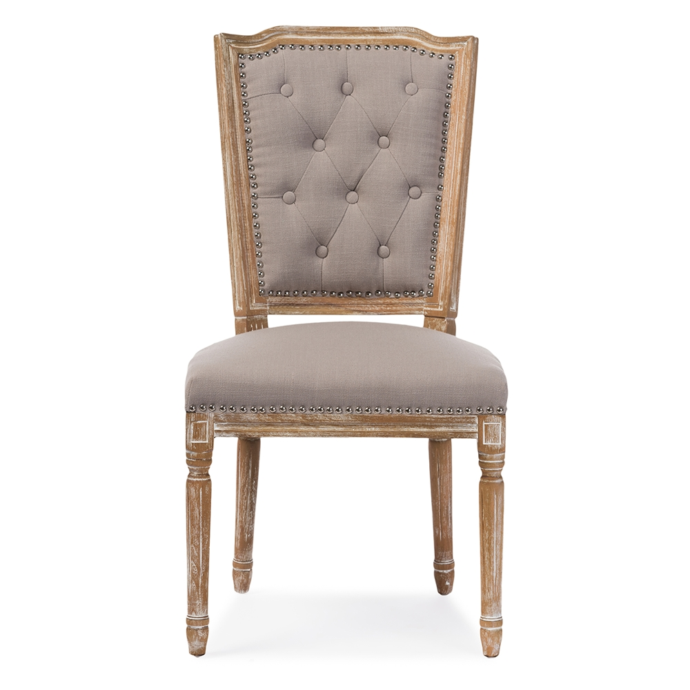 14777 Baxton Studio Estelle Chic Rustic French Country Cottage Weathered Oak Beige Fabric Button Tufted Upholstered Dining Chair on Weathered Oak Bedroom Furniture