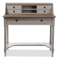Baxton Studio Edouard French Provincial Style White Wash Distressed Two-tone Writing Desk Baxton Studio restaurant furniture, hotel furniture, commercial furniture, wholesale home office furniture, wholesale desks, classic desks