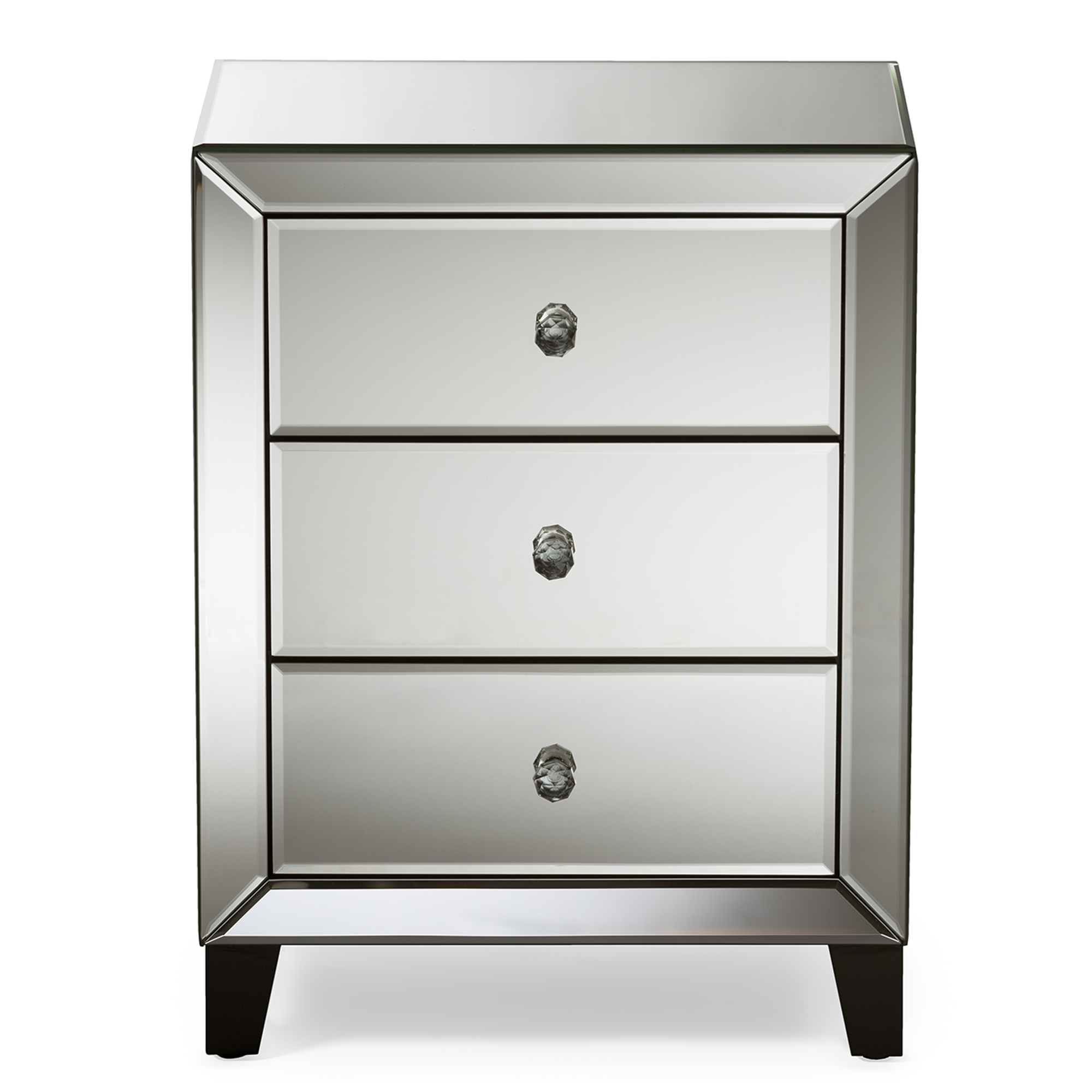 Vegas white glass mirrored bedside tables Mirrored Dresser Baxton Studio Chevron Modern And Contemporary Hollywood Regency Glamour Style Mirrored 3drawers Nightstand Bedside Table Baxton Studio Baxton Studio Wholesale End Tables Wholesale Living Room