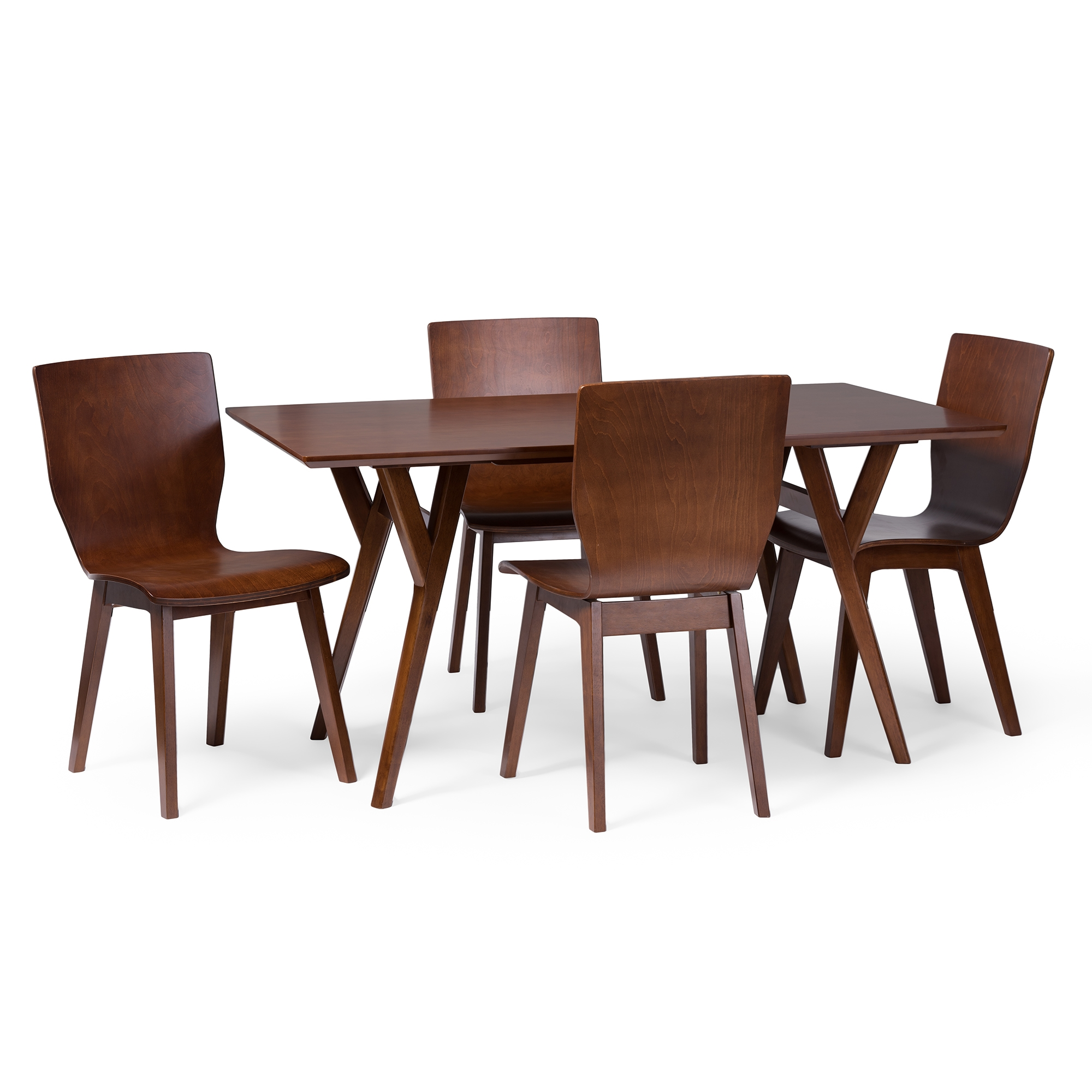 Baxton Studio Elsa Mid Century Modern Scandinavian Style Dark Walnut Bent Wood  Dining Table Baxton