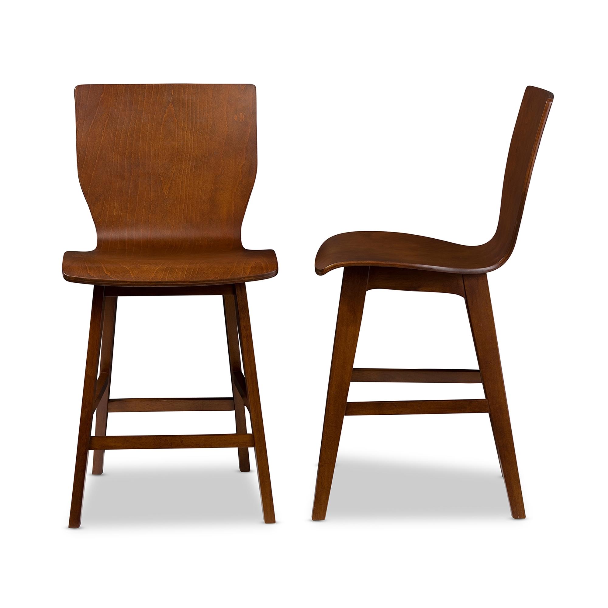 Baxton studio elsa mid century modern scandinavian style dark walnut bent wood counter stool baxton