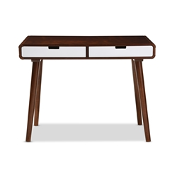 Baxton Studio Casarano Mid-century Modern Dark Walnut and White Two-tone Finish 2-drawer Wood Home Office Writing Desk Baxton Studio restaurant furniture, hotel furniture, commercial furniture, wholesale home office furniture, wholesale desks, classic desks