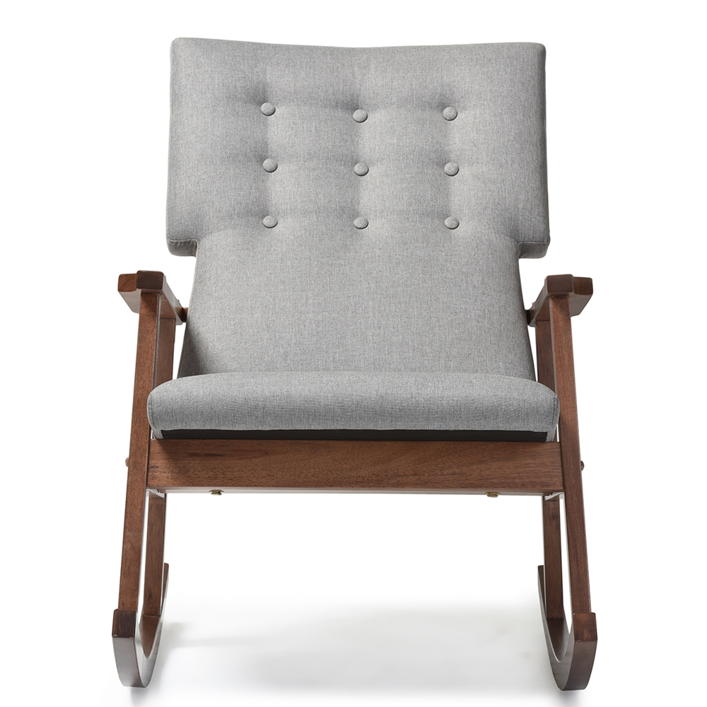 Classic accent chairs - Baxton Studio Agatha Mid Century Modern Grey Fabric Upholstered Button Tufted Rocking Chair Baxton
