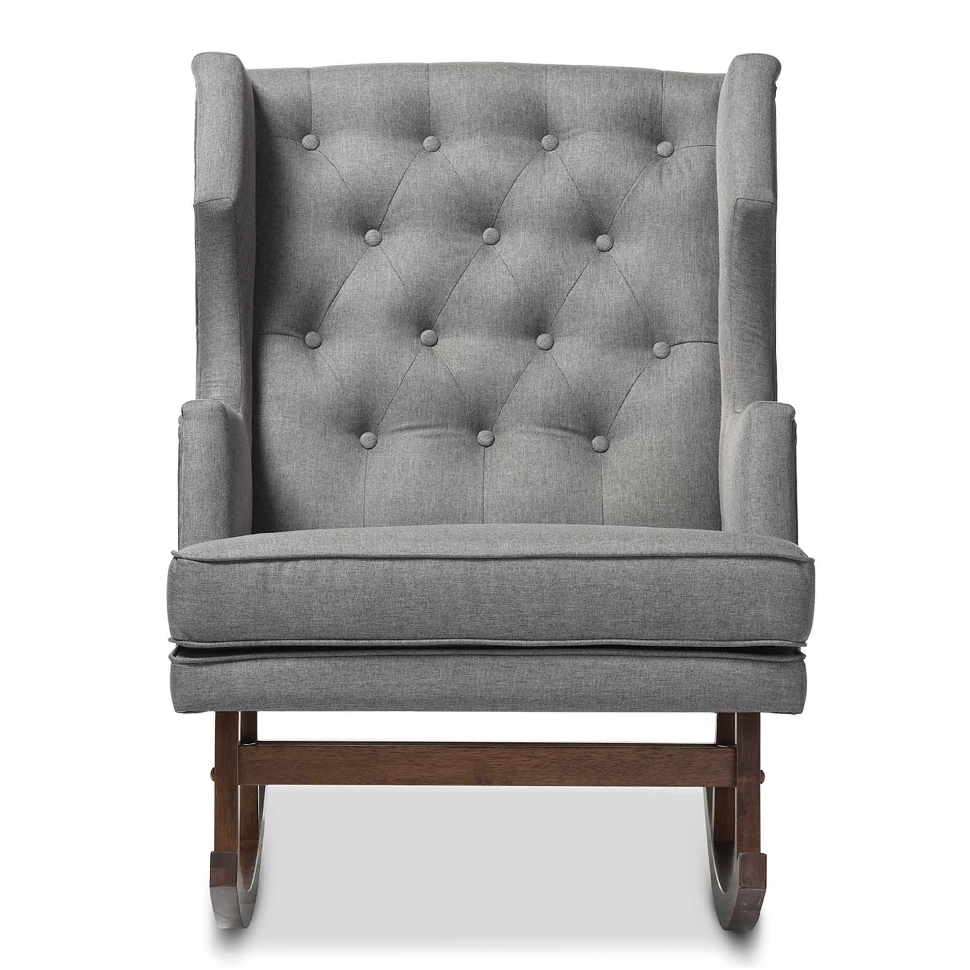 Baxton Studio Iona Mid Century Retro Modern Grey Fabric Upholstered  Button Tufted Wingback Rocking Chair