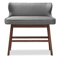 Baxton Studio Gradisca Modern and Contemporary Grey Fabric Button-tufted Upholstered Bar Bench Banquette Baxton Studio restaurant furniture, hotel furniture, commercial furniture, wholesale living room furniture, wholesale ottomans , classic standard ottomans