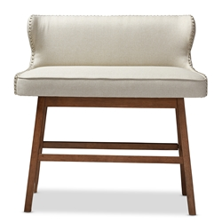 Baxton Studio Gradisca Modern and Contemporary Light Beige Fabric Button-tufted Upholstered Bar Bench Banquette Baxton Studio restaurant furniture, hotel furniture, commercial furniture, wholesale living room furniture, wholesale ottomans , classic standard ottomans