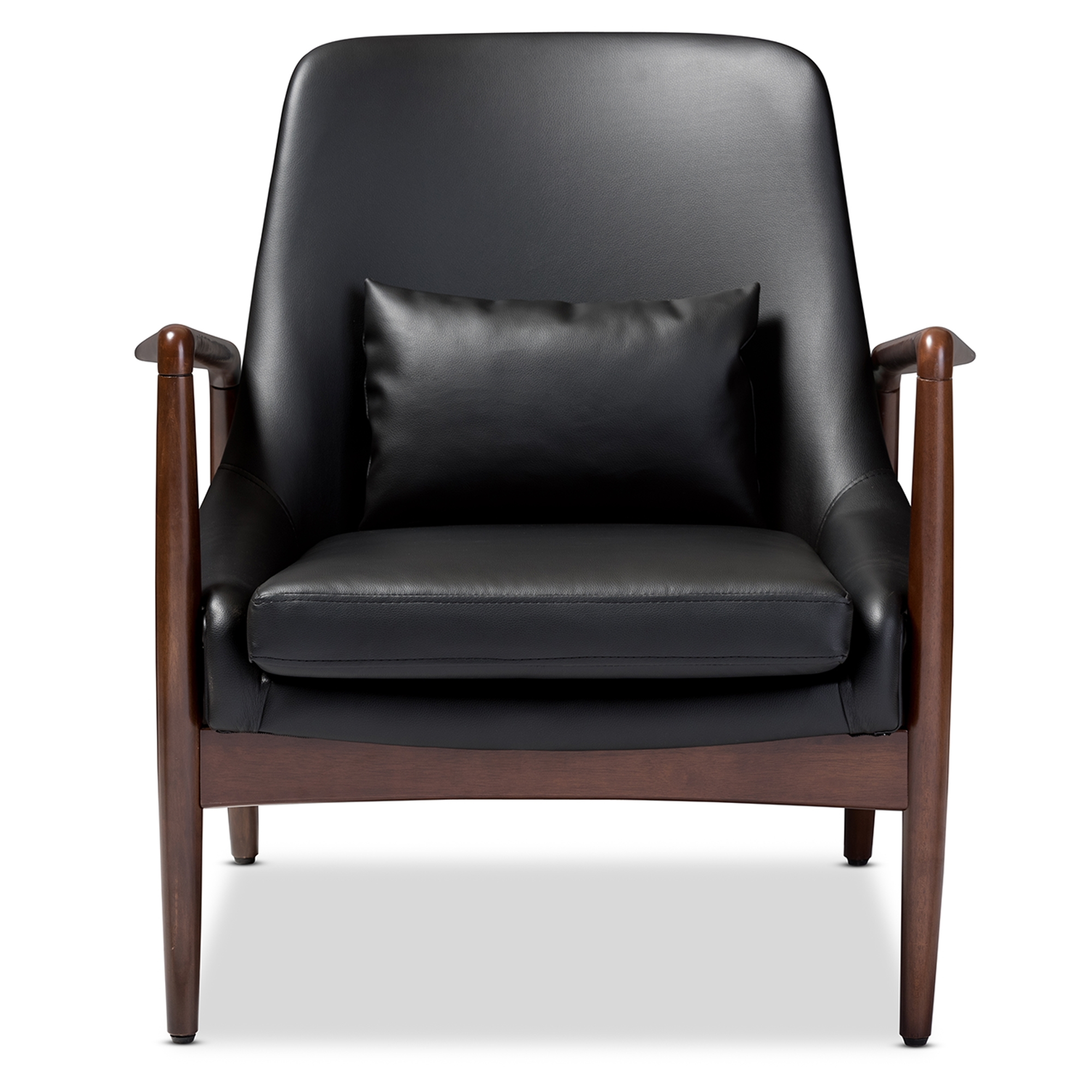 wood frame accent chairs. Baxton Studio Carter Mid-Century Modern Retro Black Faux Leather Upholstered Leisure Accent Chair In Walnut Wood Frame Chairs