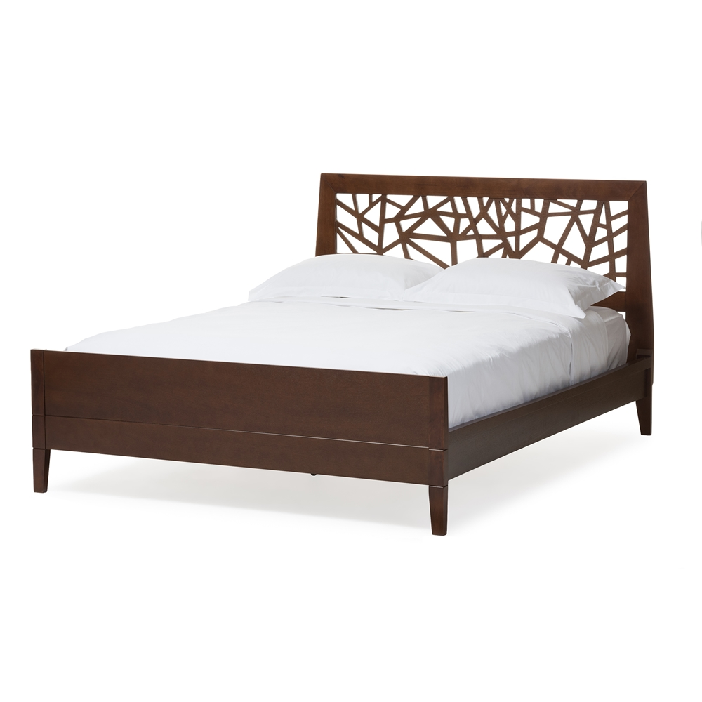 Baxton Studio Jennifer Tree Branch Inspired Modern And Contemporary King Size Walnut Finishing Solid Wood Platform Base Bed Frame