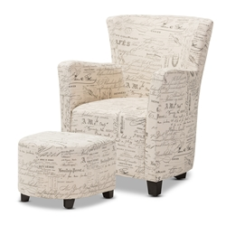 Baxton Studio Benson French Script Patterned Fabric Club Chair and Ottoman Set Baxton Studio restaurant furniture, hotel furniture,commercial furniture, wholesale living room furniture, wholesale chairs and ottoman, classic ottoman set