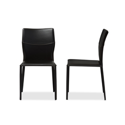 Baxton Studio Asper Modern And Contemporary Black Leather Upholstered Dining Chair Restaurant Furniture