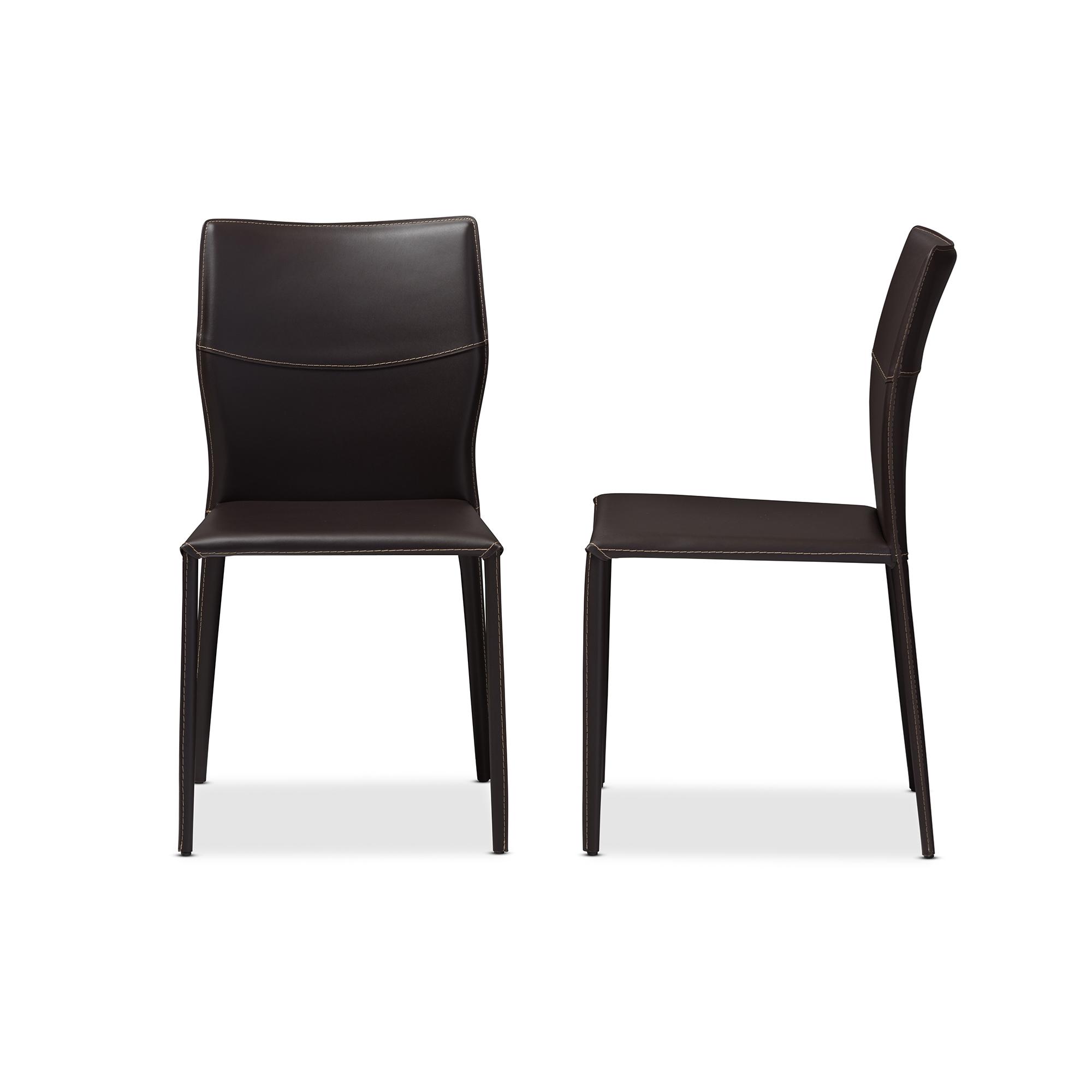 Modern restaurant chairs - Cool Baxton Studio Asper Modern And Dark Brown Bonded Leather Upholstered Dining Chair Baxton Studio Restaurant With Restaurant Chairs Cheap