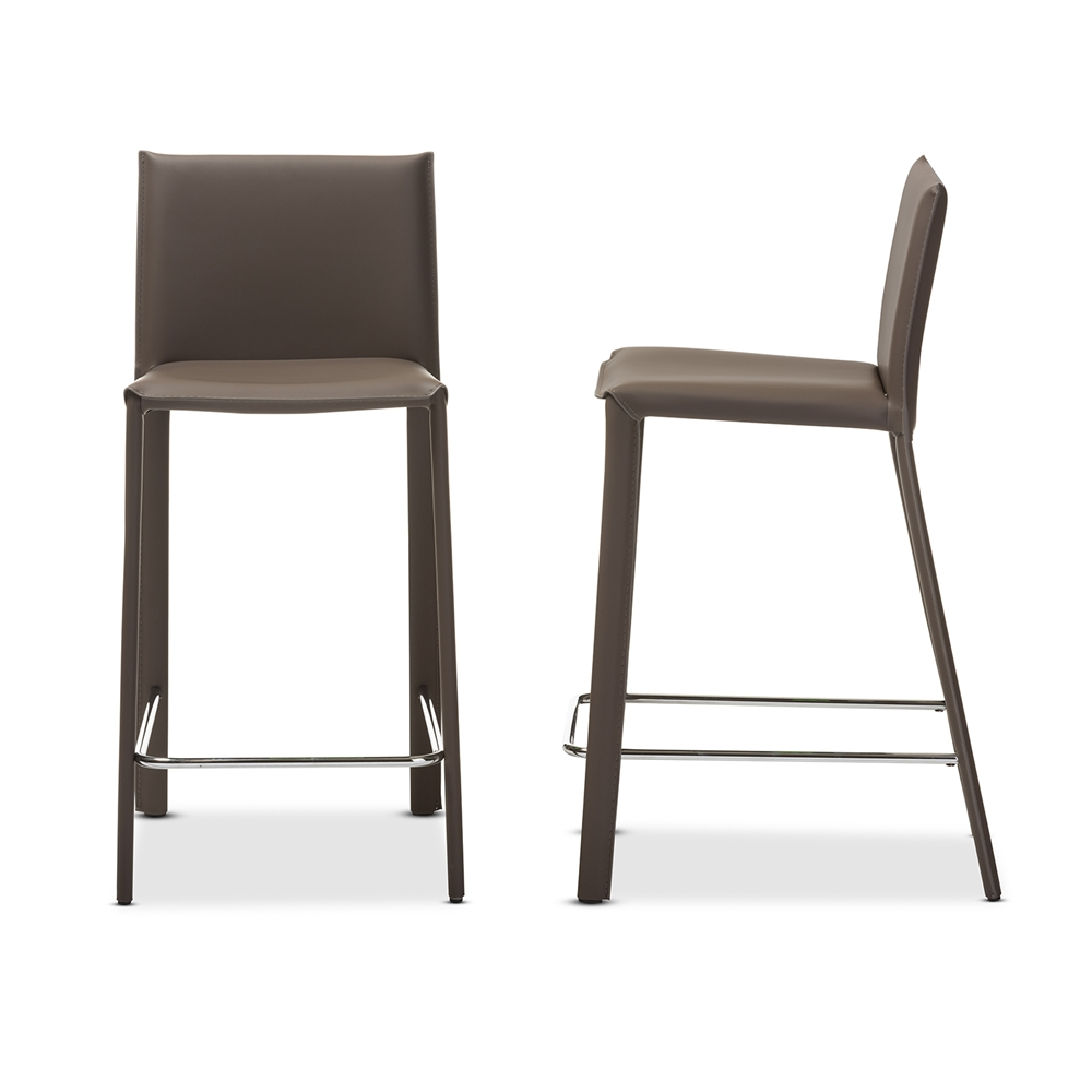 Baxton studio crawford modern and contemporary taupe leather upholstered counter height stool