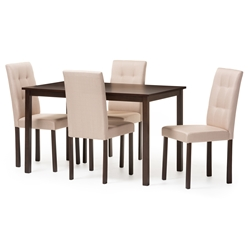 Baxton Studio Andrew Modern and Contemporary 5-Piece Beige Fabric Upholstered Grid-tufting Dining Set Baxton Studio restaurant furniture, hotel furniture, commercial furniture, wholesale dining room Furniture, wholesale dining sets, wholesale 5-piece sets
