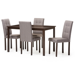 Baxton Studio Andrew Modern and Contemporary 5-Piece Grey Fabric Upholstered Grid-tufting Dining Set Baxton Studio restaurant furniture, hotel furniture, commercial furniture, wholesale dining room Furniture, wholesale dining sets, wholesale 5-piece sets