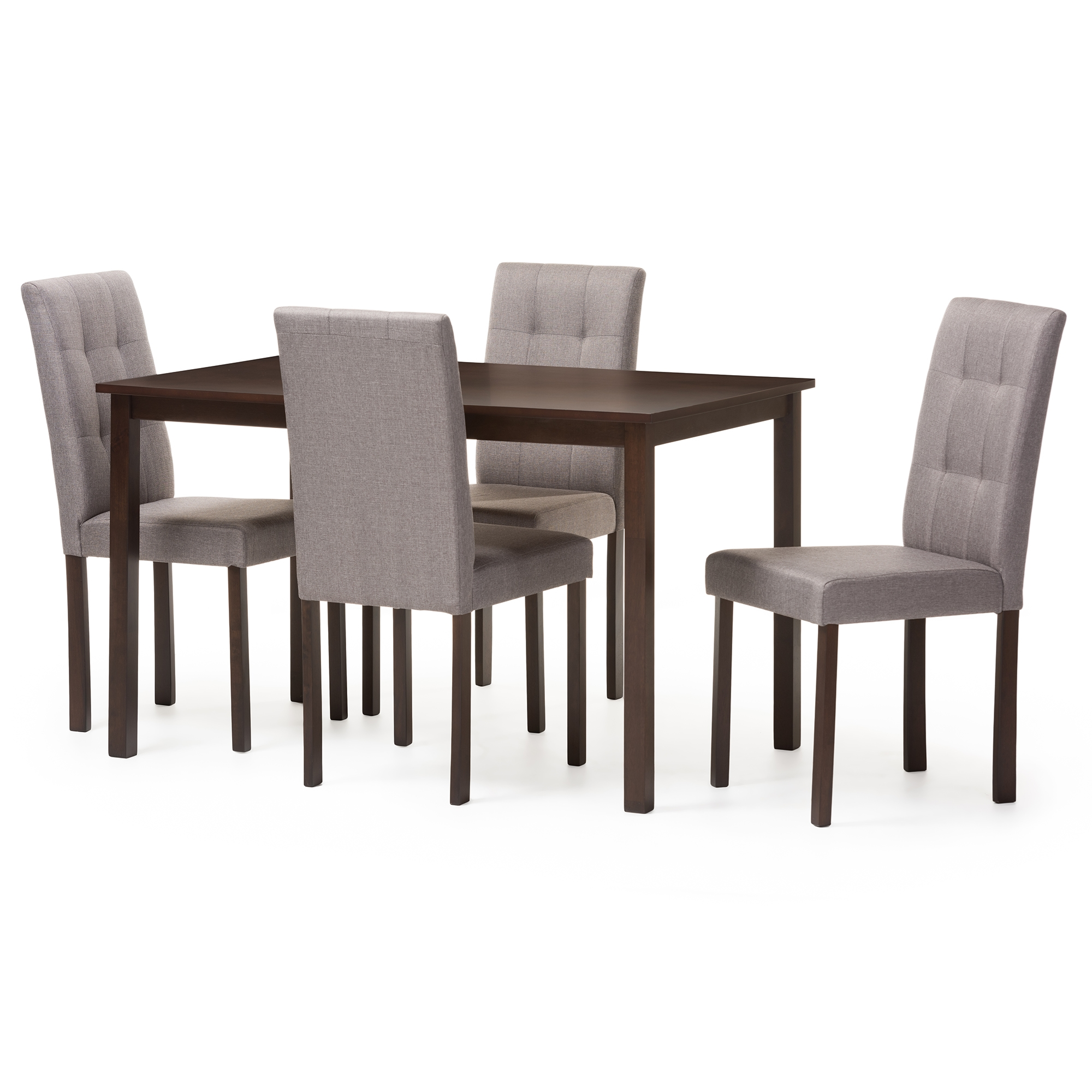 Beau Baxton Studio Andrew Modern And Contemporary 5 Piece Grey Fabric  Upholstered Grid Tufting Dining Set