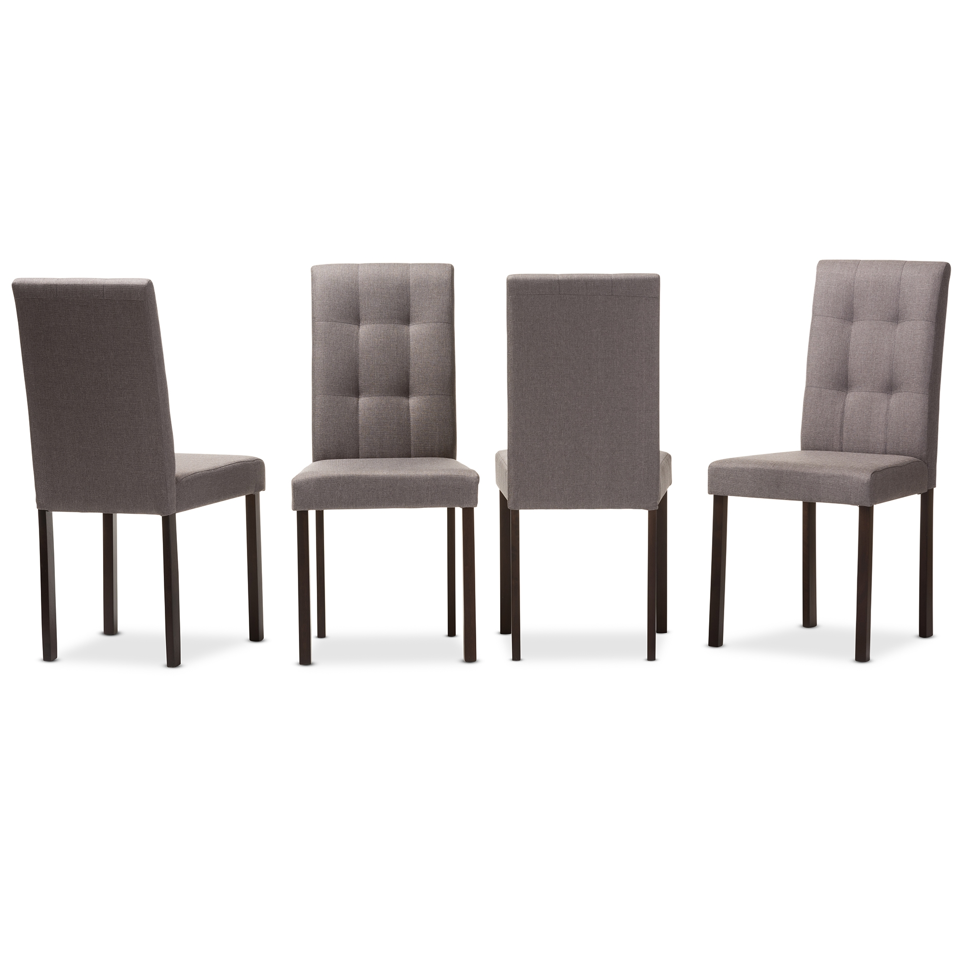 Baxton Studio Andrew Modern And Contemporary Grey Fabric Upholstered  Grid Tufting Dining Chair Baxton Studio