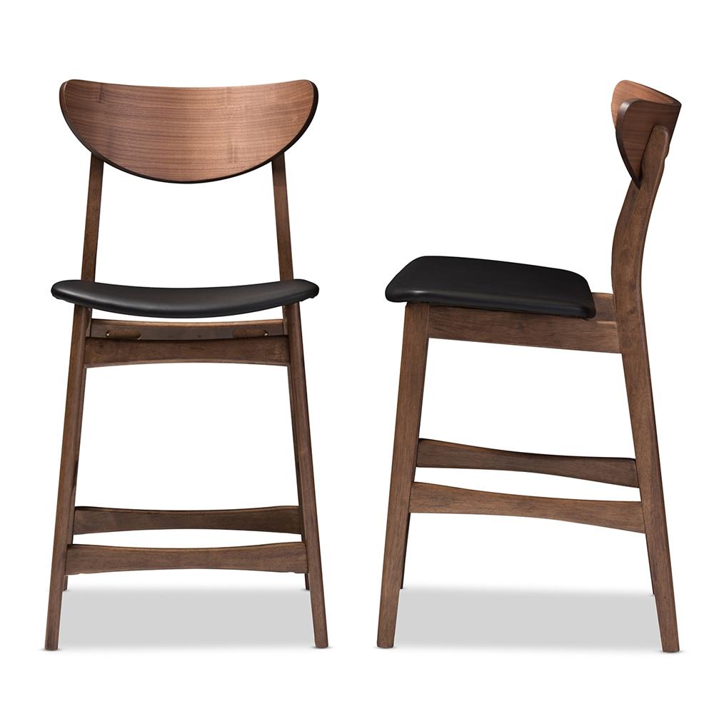Baxton studio latina mid century retro modern scandinavian style black faux leather upholstered walnut wood finishing 24 inches counter stool