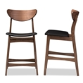 Baxton Studio Latina Mid-century Retro Modern Scandinavian Style Black Faux Leather Upholstered Walnut Wood Finishing 24-Inches Counter Stool Baxton Studio restaurant furniture, hotel furniture, commercial furniture, wholesale bar furniture, wholesale bar stools, classic bar stools