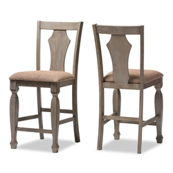 "Baxton Studio Arianna Shabby Chic Country Cottage Weathered Grey Finishing Wood and ""Wheat"" Brown Fabric Upholstered Counter Stool Baxton Studio restaurant furniture, hotel furniture, commercial furniture, wholesale bar furniture, wholesale bar stools, classic counter height stools"