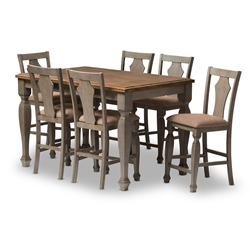 "Baxton Studio Arianna Shabby Chic Country Cottage Weathered Grey and ""Oak"" Brown 2-Tone Finishing Solid Wood Fixed Top 7-Piece Counter Height Dining Set Baxton Studio restaurant furniture, hotel furniture, commercial furniture, wholesale dining room furniture, wholesale dining sets, classic 7-piece sets"