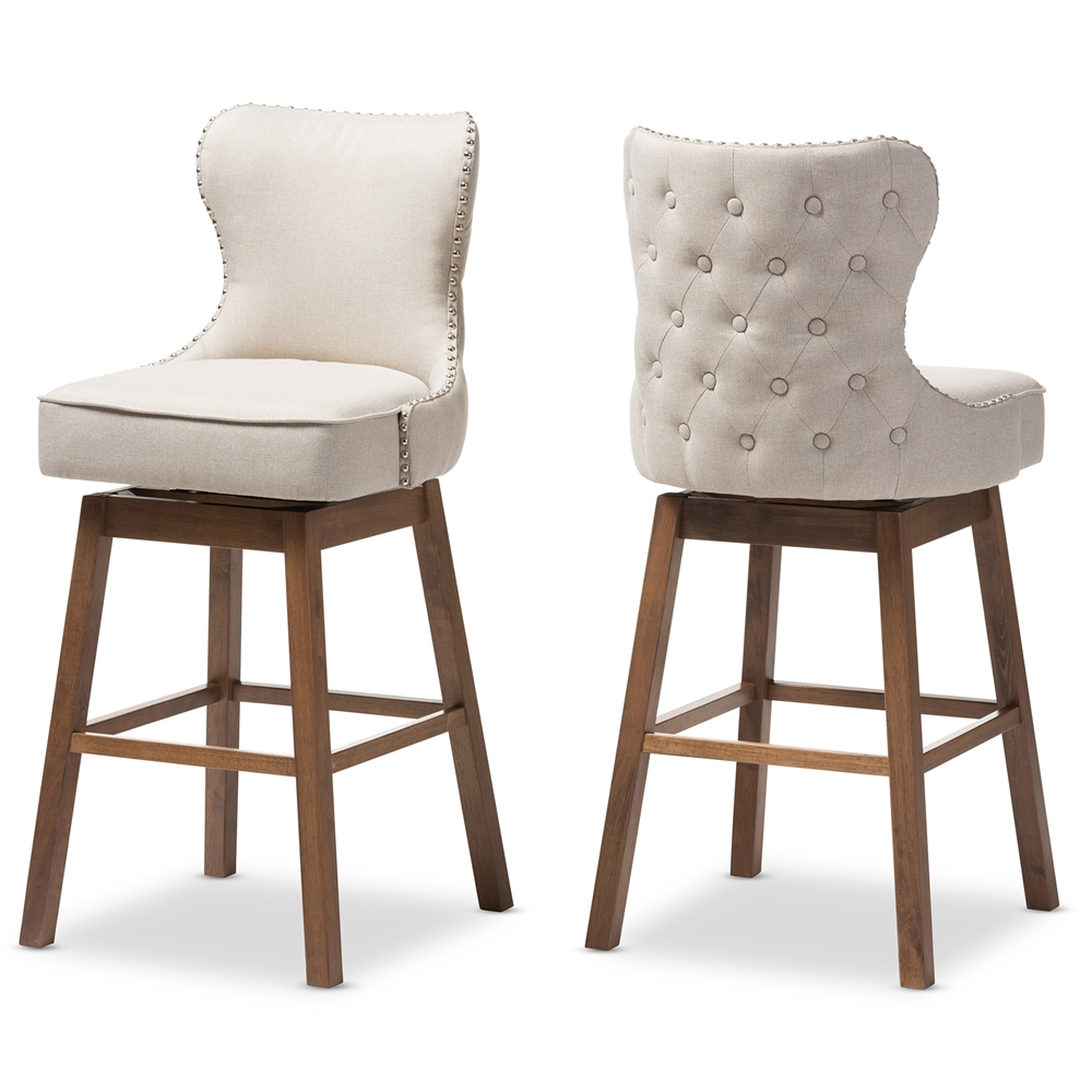 Baxton studio gradisca modern and contemporary brown wood finishing and light beige fabric button tufted upholstered swivel barstool