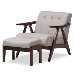 Baxton Studio Enya Mid-Century Modern Walnut Wood Grey Fabric Lounge Chair Set Baxton Studio restaurant furniture, hotel furniture, commercial furniture, wholesale living room furniture, wholesale living room chair & ottoman, classic chair & ottoman
