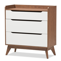 Baxton Studio Brighton Mid-Century Modern White and Walnut Wood 3-Drawer Storage Chest Baxton Studio restaurant furniture, hotel furniture, commercial furniture, wholesale bedroom furniture, wholesale chest, classic chest