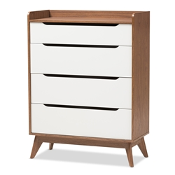 Baxton Studio Brighton Mid-Century Modern White and Walnut Wood 4-Drawer Storage Chest Baxton Studio restaurant furniture, hotel furniture, commercial furniture, wholesale bedroom furniture, wholesale chest, classic chest