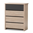 Baxton Studio Jamie Modern and Contemporary Two-Tone Oak and Grey Wood 4-Drawer Chest Baxton Studio restaurant furniture, hotel furniture, commercial furniture, wholesale bedroom furniture, wholesale chest, classic chest