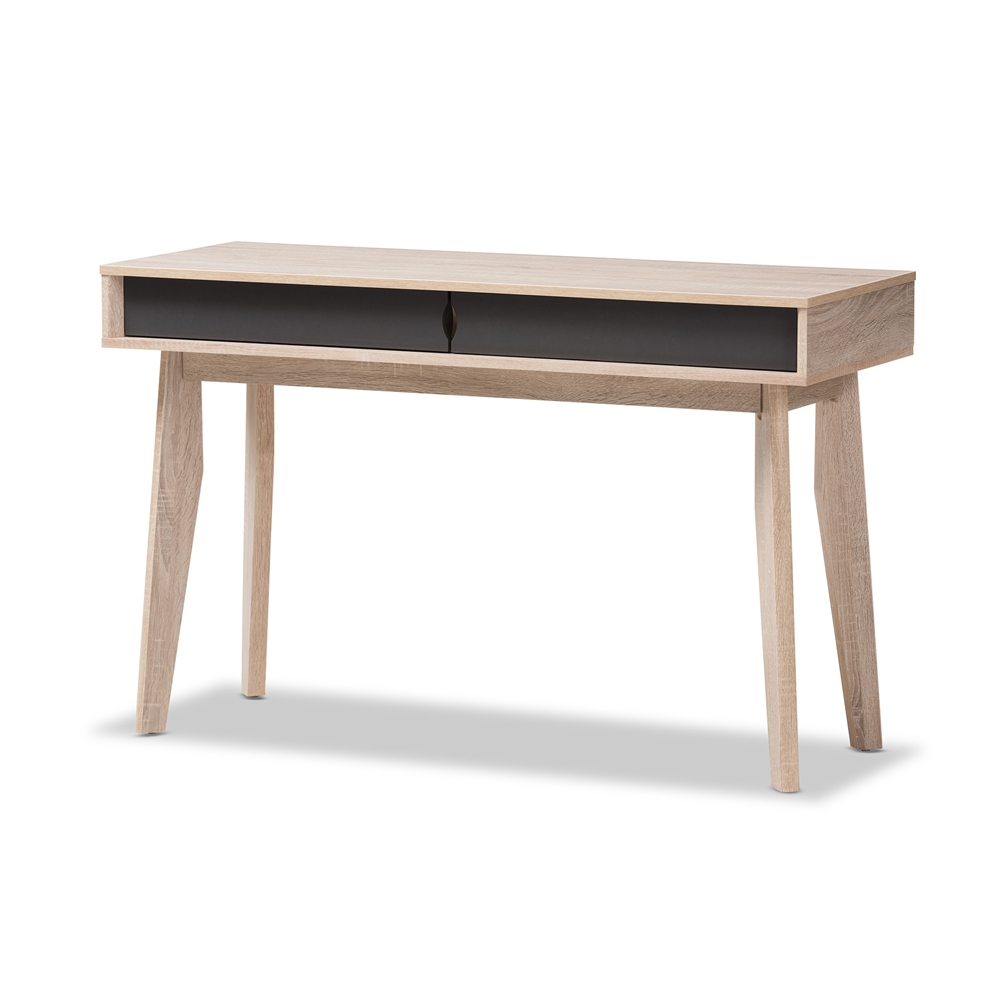 Baxton Studio Fella Mid Century Modern 2 Drawer Oak And Grey Wood Study Desk