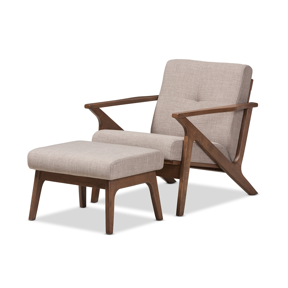 Baxton Studio Bianca Mid Century Modern Walnut Wood Light Grey Fabric Tufted Lounge Chair And Ottoman Set