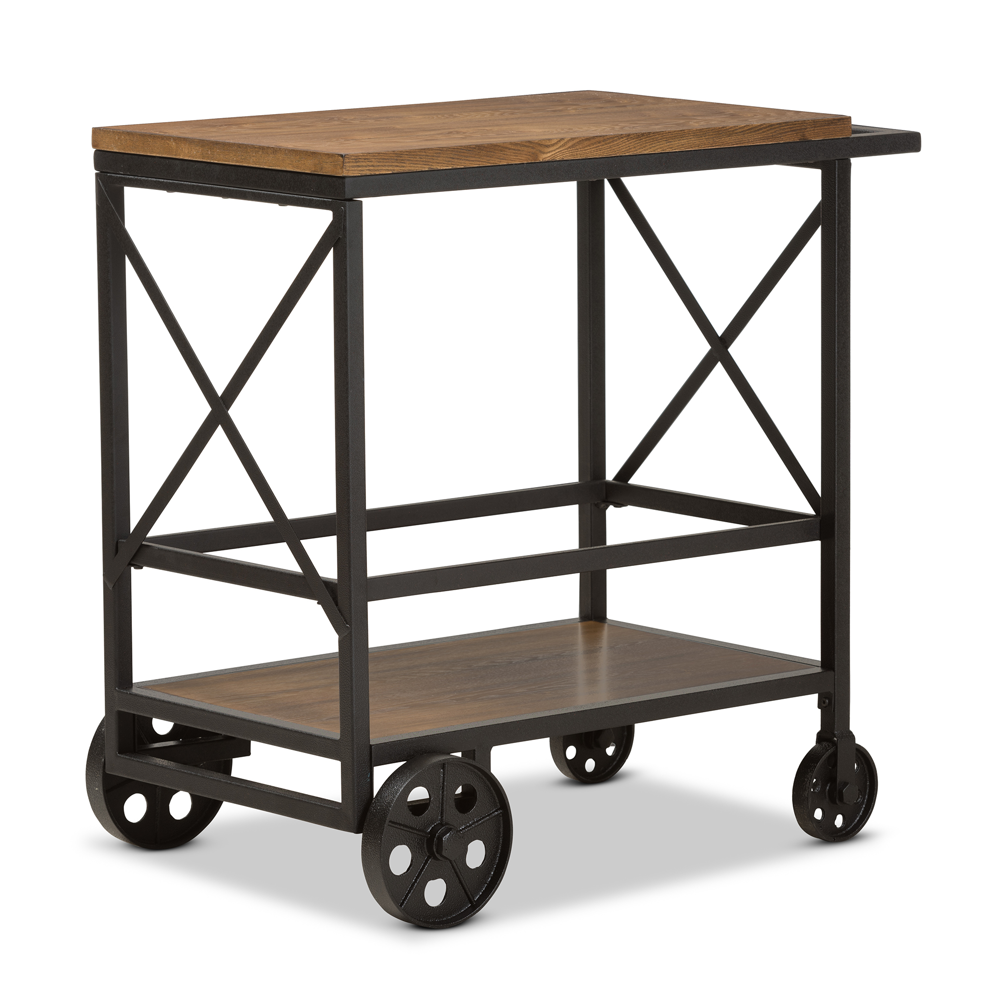 Baxton Studio Chester Rustic Industrial Style Oak Brown Finished Wood And  Black Finished Metal Console Table