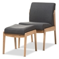 Baxton Studio Wera Mid-Century Retro Modern Dark Grey Fabric Slipper Lounge Chair and Ottoman Set Baxton Studio restaurant furniture, hotel furniture, commercial furniture, wholesale living room furniture, wholesale chair, classic lounge chairs and ottomans