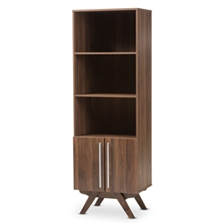 Baxton Studio Ashfield Mid-Century Modern Walnut Brown Finished Wood Bookcase Baxton Studio restaurant furniture, hotel furniture, commercial furniture, wholesale living room furniture, wholesale bookcase, classic bookcases