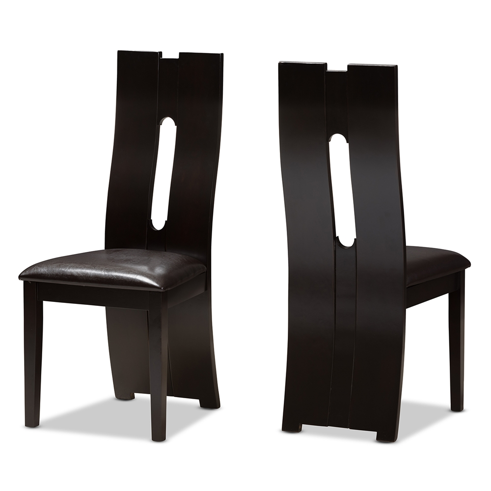 Baxton Studio Alani Modern And Contemporary Dark Brown Faux Leather Upholstered Dining Chair Set Of 2