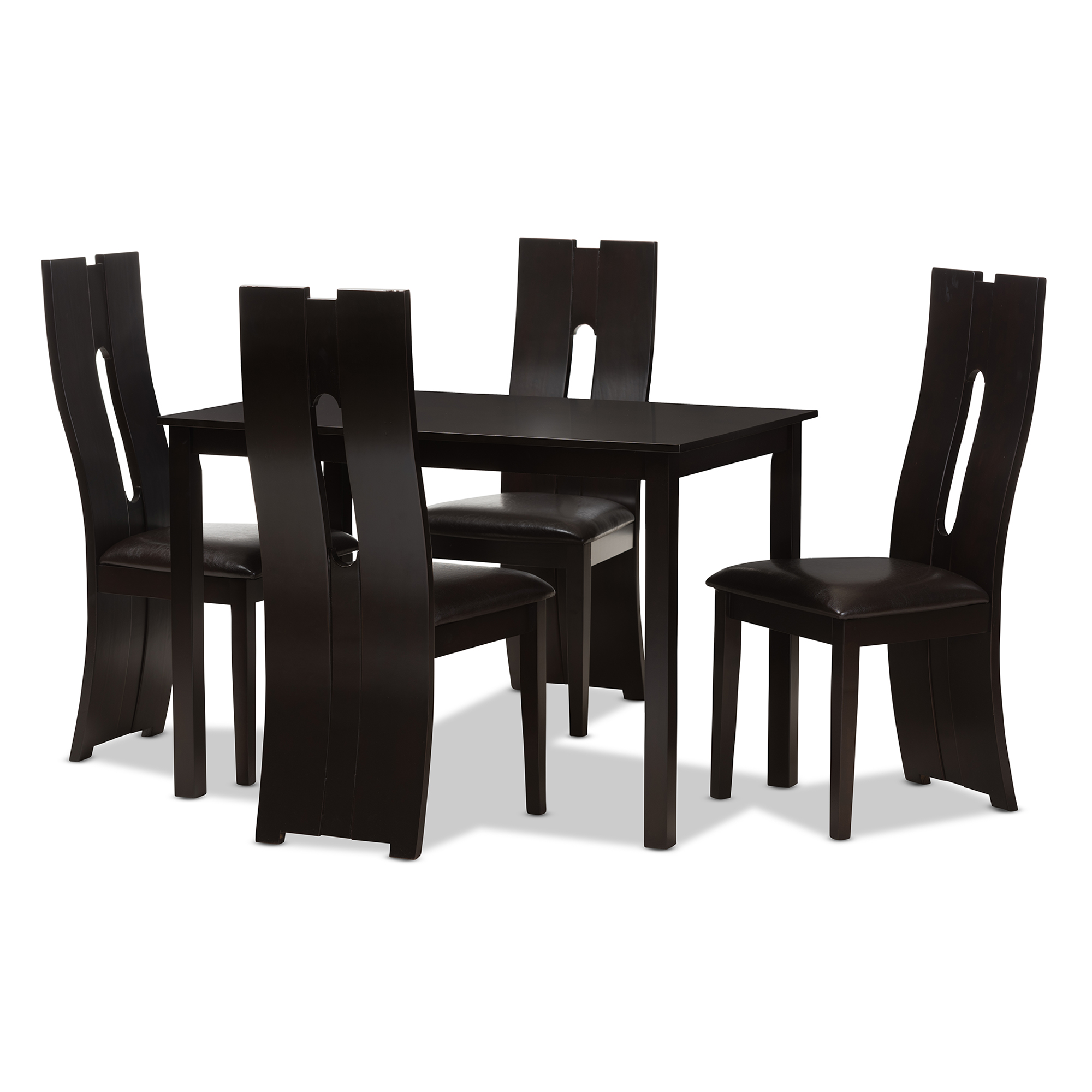 Baxton Studio Alani Modern And Contemporary Dark Brown Faux Leather  Upholstered 5 Piece Dining Set