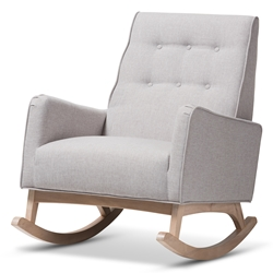 Baxton Studio Marlena Mid-Century Modern Greyish Beige Fabric Upholstered Whitewash Wood Rocking Chair Baxton Studio restaurant furniture, hotel furniture, commercial furniture, wholesale living room furniture, wholesale chairs, classic rocking chairs