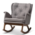 Baxton Studio Maggie Mid-Century Modern Grey Fabric Upholstered Walnut-Finished Rocking Chair Baxton Studio restaurant furniture, hotel furniture, commercial furniture, wholesale living room furniture, wholesale chairs, classic rocking chairs
