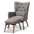Baxton Studio Waldmann Mid-Century Modern Grey Fabric Upholstered Lounge Chair and Ottoman Set Baxton Studio restaurant furniture, hotel furniture, commercial furniture, wholesale living room furniture, wholesale chair and ottoman set, classic chair and ottoman set