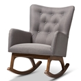 Baxton Studio Waldmann Mid-Century Modern Grey Fabric Upholstered Rocking Chair Baxton Studio restaurant furniture, hotel furniture, commercial furniture, wholesale living room furniture, wholesale sofas and loveseats, classic loveseats
