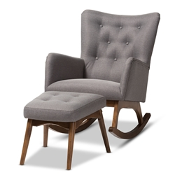Baxton Studio Waldmann Mid-Century Modern Grey Fabric Upholstered Rocking Chair and Ottoman Set Baxton Studio restaurant furniture, hotel furniture, commercial furniture, wholesale living room furniture, wholesale chair and ottoman set, classic chair and ottoman set