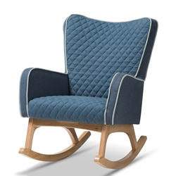 Baxton Studio Zoelle Mid-Century Modern Blue Fabric Upholstered Natural Finished Rocking Chair Baxton Studio restaurant furniture, hotel furniture, commercial furniture, wholesale living room furniture, wholesale chairs, classic rocking chairs